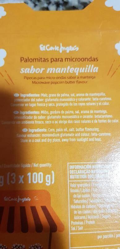 Palomitas sabor a mantequilla - Ingredients - es