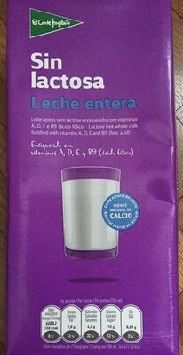 Leche entera sin lactosa - Producto