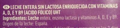 Leche entera sin lactosa - Ingredientes