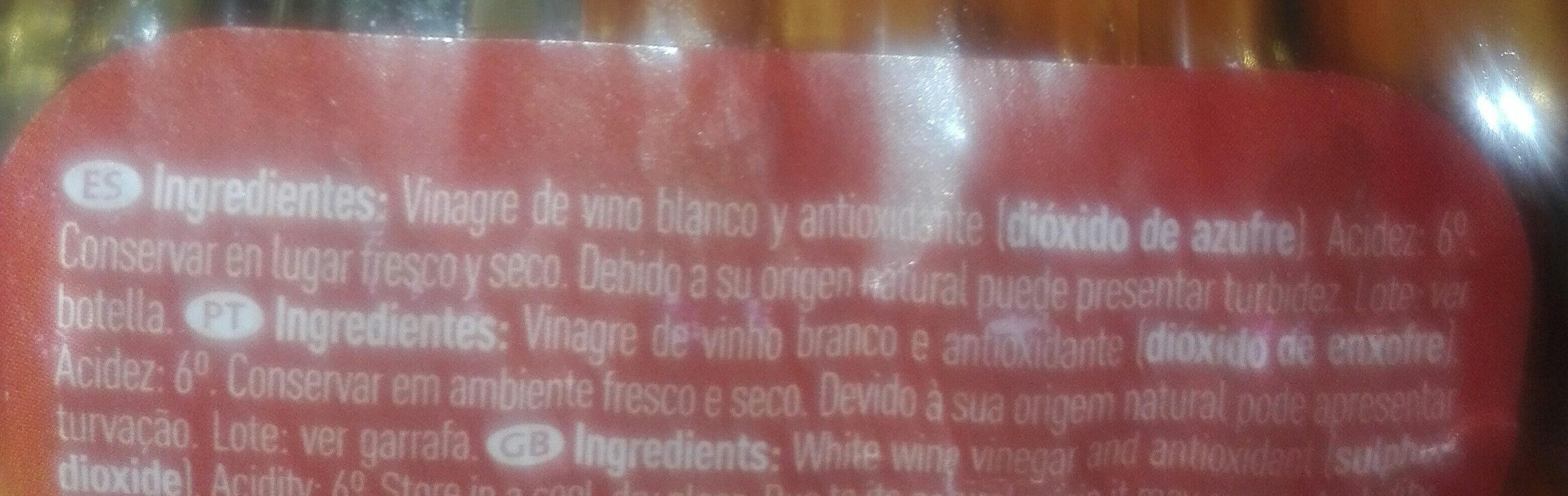 Vinagre de vino blanco - Ingredientes