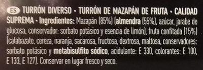 Turrón de mazapán de fruta - Ingrédients - es