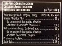 Turrón de mazapán de fruta - Información nutricional - es