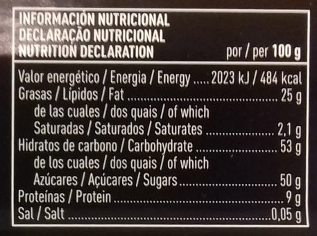 Turrón de mazapán de fruta - Informations nutritionnelles - es