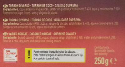 Turrón de coco - Ingrédients - es