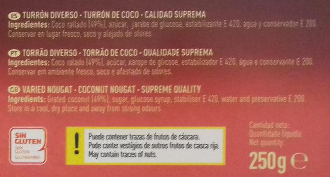 Turrón de coco - Ingredientes - es