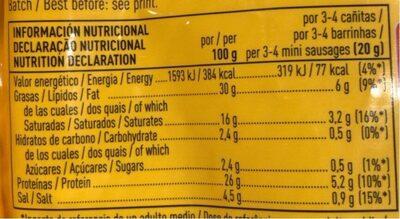 Cañitas de fuet para picar sin gluten - Nutrition facts - es