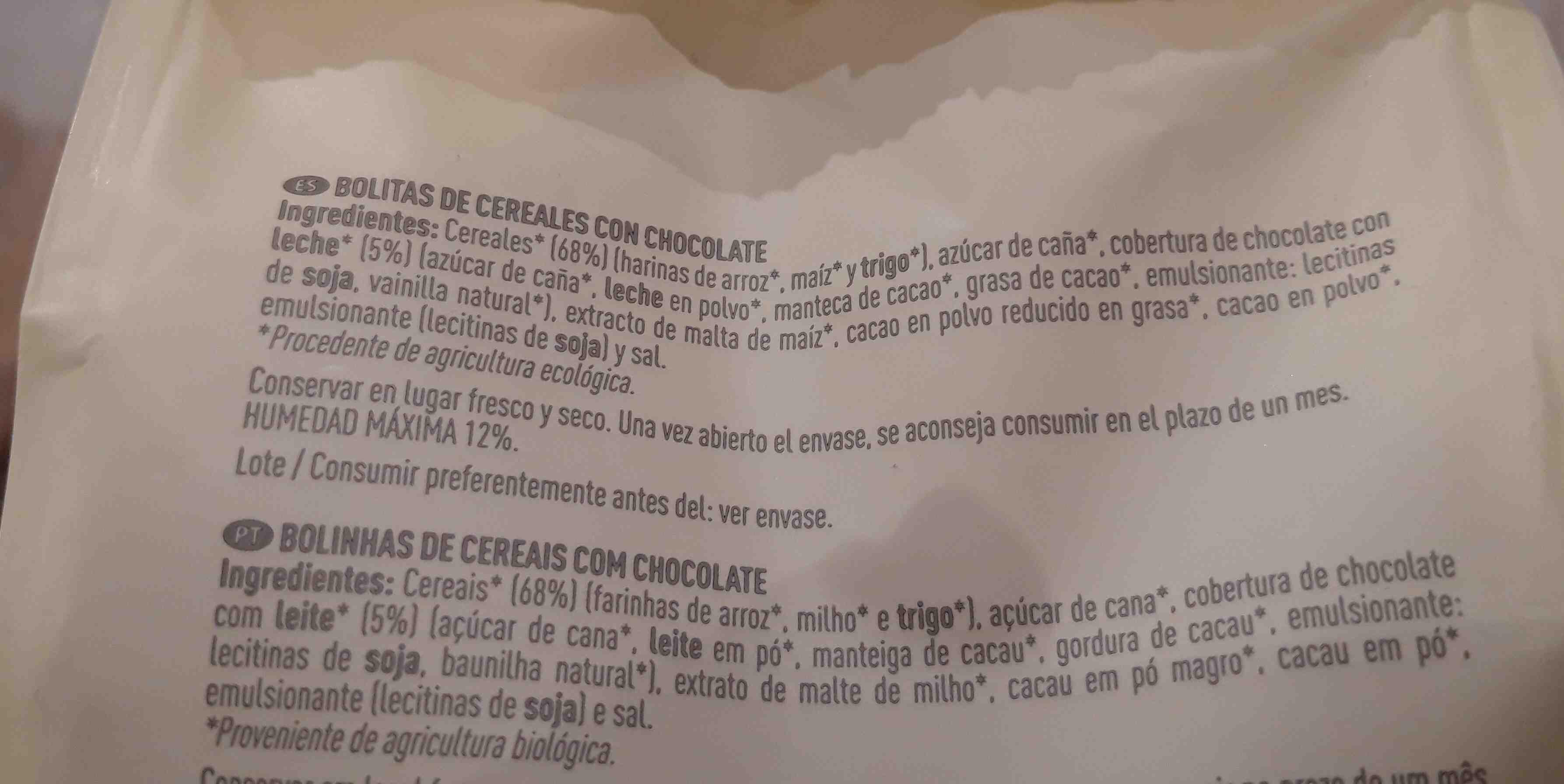 Bio bolitas de cereales con chocolate - Ingredientes