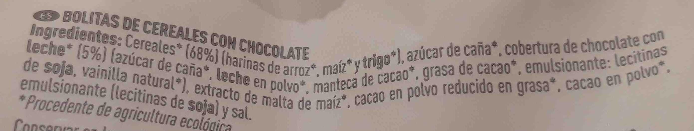 Bio bolitas de cereales con chocolate - Ingredients - es