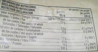 Bio espelta hinchada - Informació nutricional