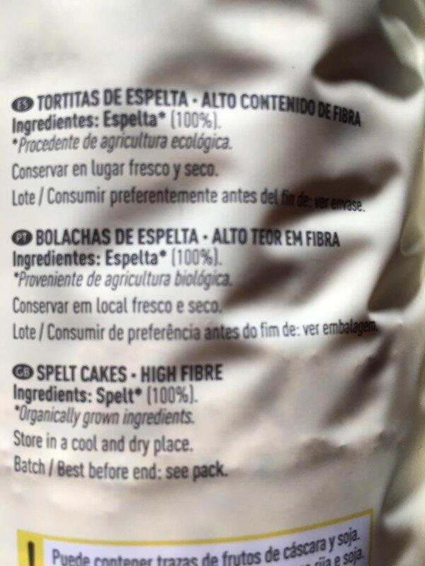 Bio tortitas de espelta - Ingredients - es