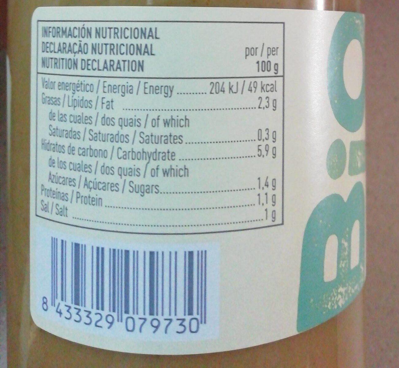 Crema de verduras ecológica y sin gluten - Información nutricional - fr