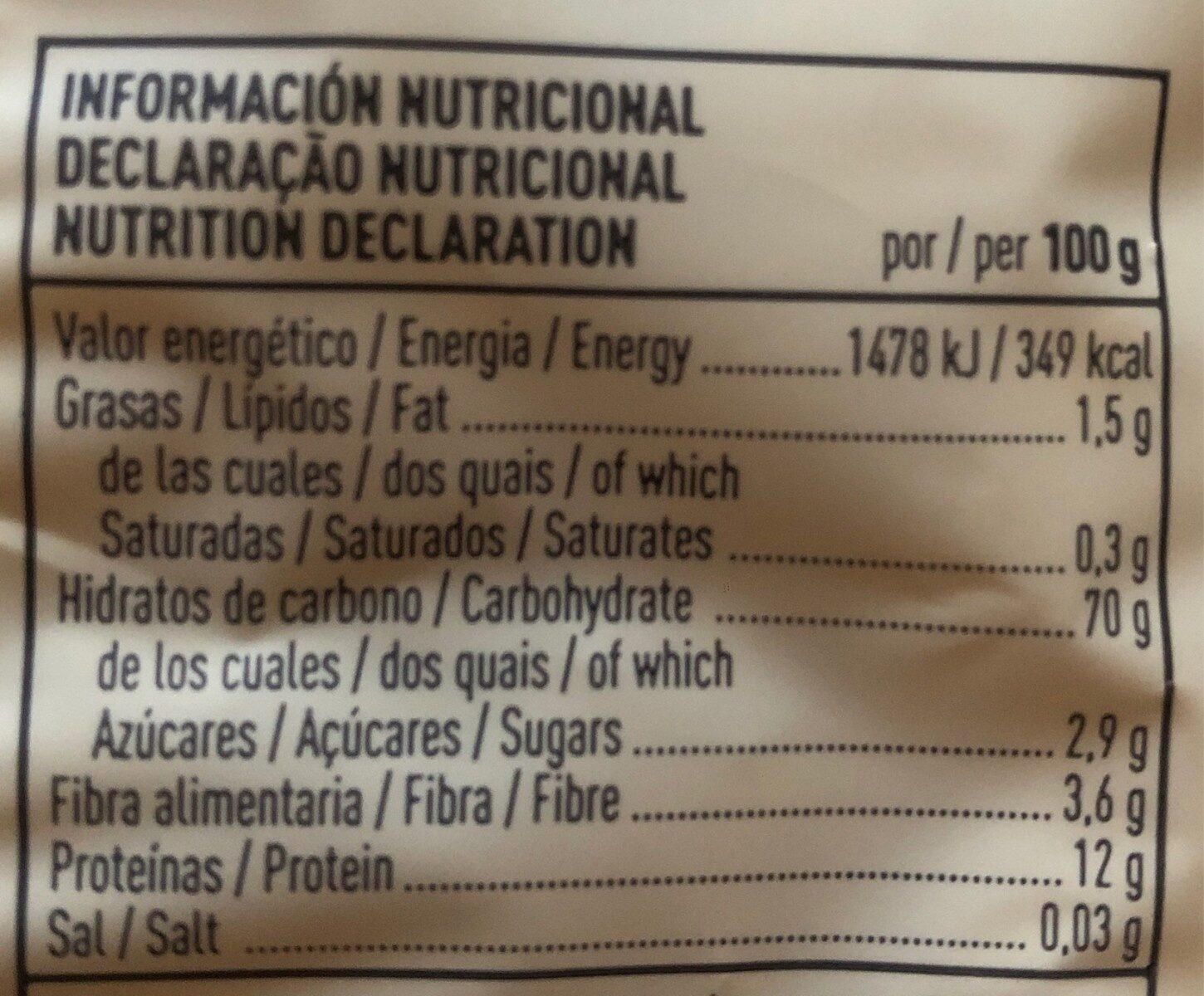 Macarrones ecológicos - Nutrition facts