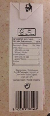 Zumo de naranja a partir de concentrado sin azúcares - Información nutricional