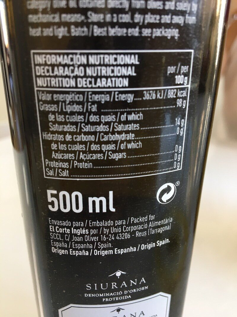 Enclaves d'Oro aceite de oliva virgen extra - Nutrition facts
