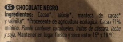 Chocolate negro 71% orgánic cocoa - Ingredients