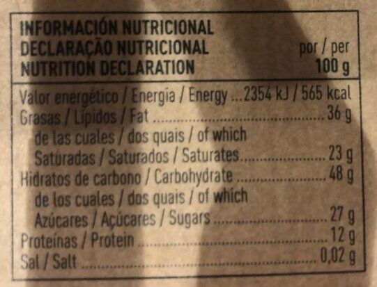 Chocolate negro 71% orgánic cocoa - Nutrition facts