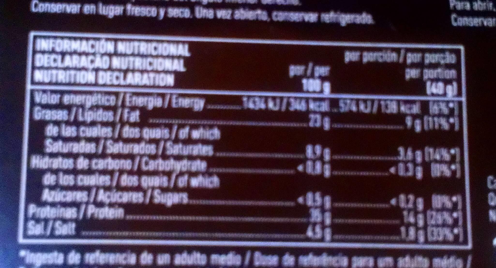 Jamón de bellota ibérico raza ibérica lonchas - Nutrition facts