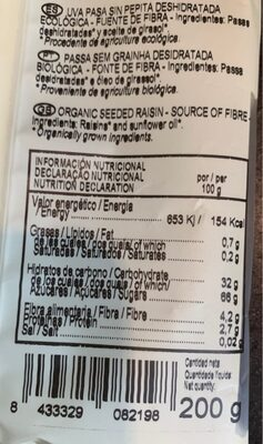 Bio pasa sin pepita ecológica bolsa 200 g - Nutrition facts - es