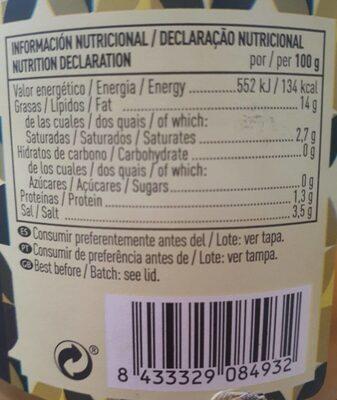 Aceitunas enteras verdes gordal frasco 500 g - Información nutricional - es