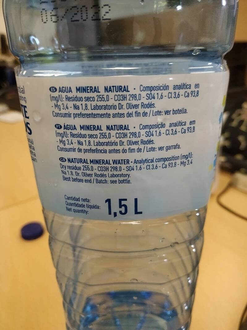 Agua mineral natural Monte Pinos - Informations nutritionnelles - es