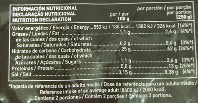Arroz tres delicias con pollo - Nutrition facts