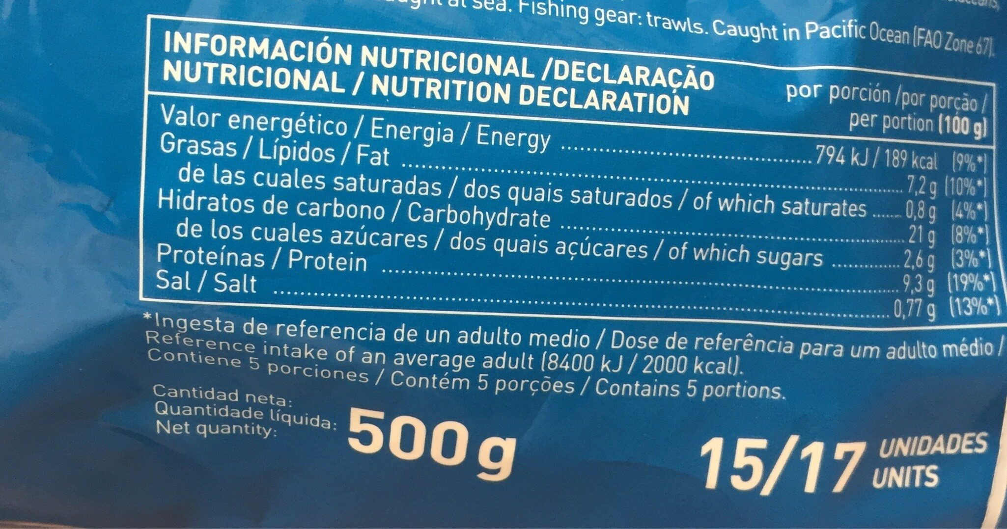 Varitas de merluza empanadas - Informations nutritionnelles - fr