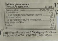 Bio Hamburguesa Vegetal de Alcachofa - Información nutricional - es