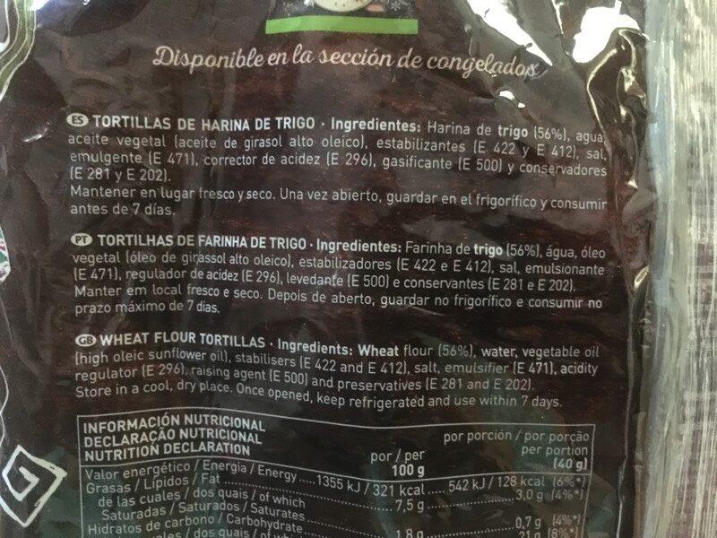 Tortillas mejicanas de trigo 8 unidades envase 320 g - Ingrédients - es