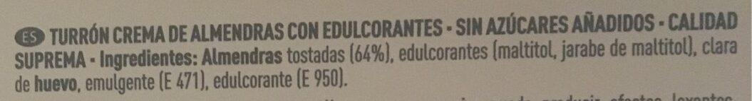 Turron crema de almendras - Ingredientes - es