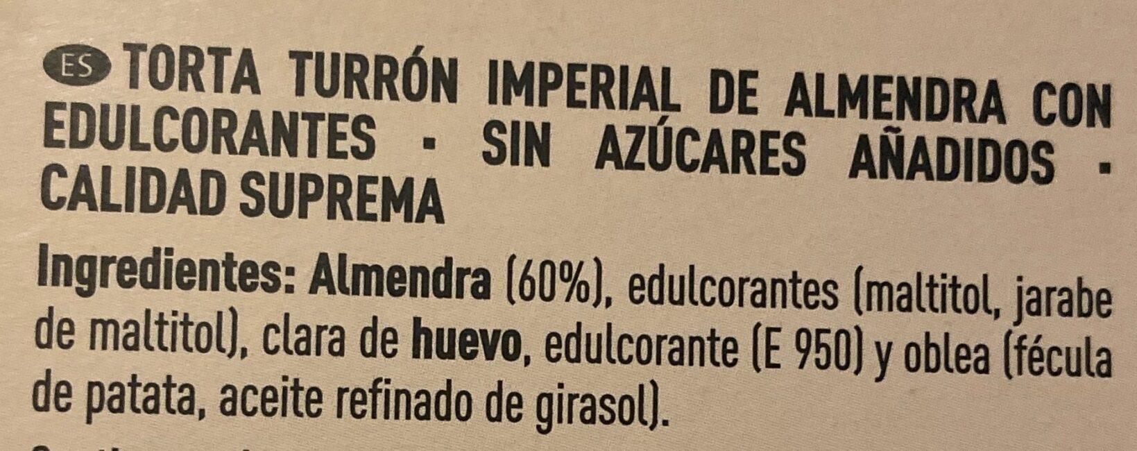 Torta turrón imperial de almendra - Ingredientes - es