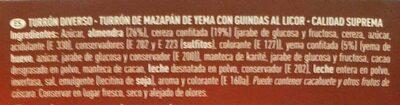 Turrón de mazapán de yema y guindas al licor - Ingredients - es