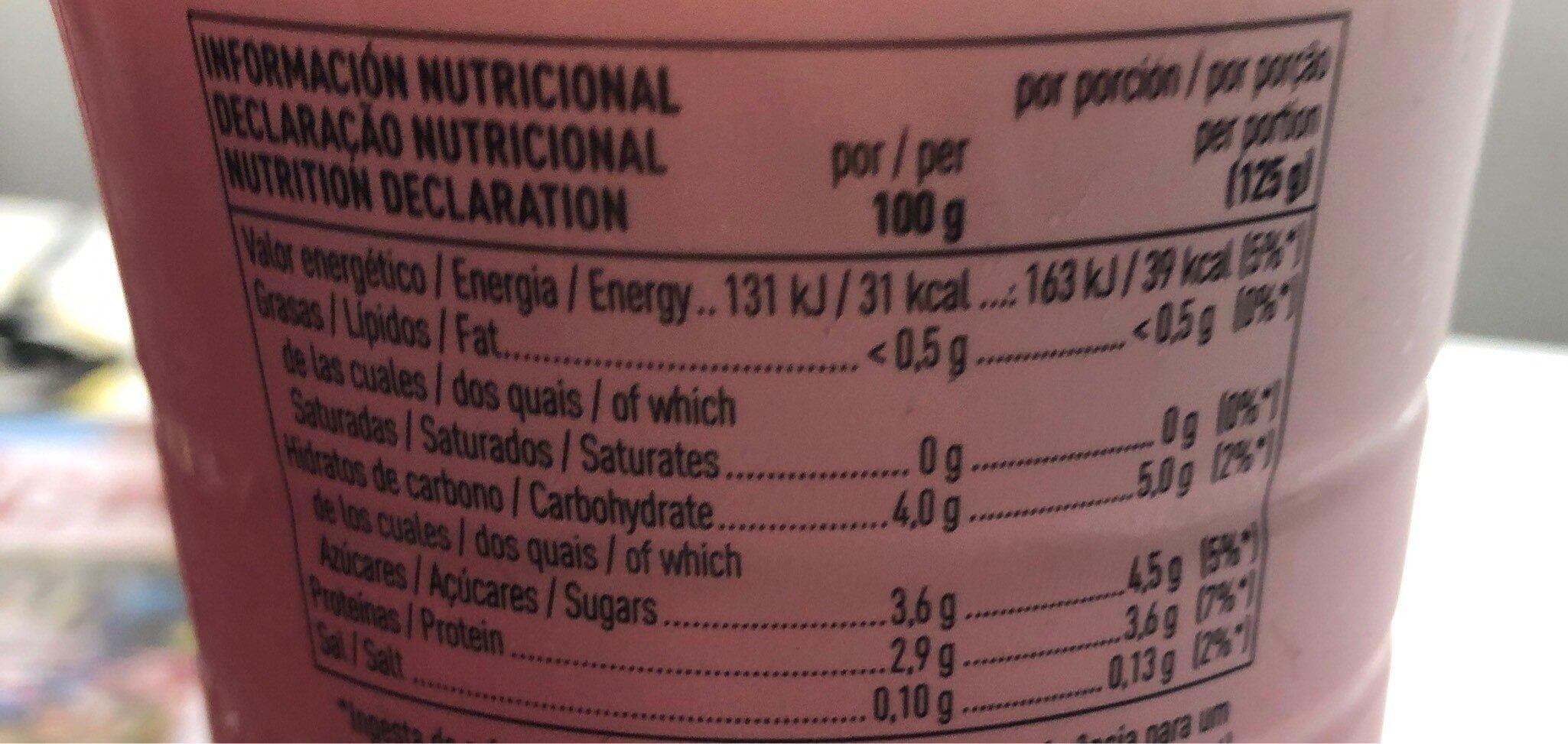 Yogur líquido con fresa desnatado edulcorado - Informations nutritionnelles - es