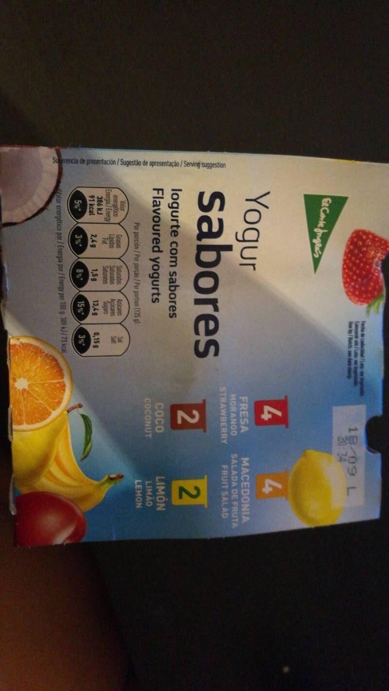 Yogur sabores fresa + macedonia + coco + limón sin gluten - Product