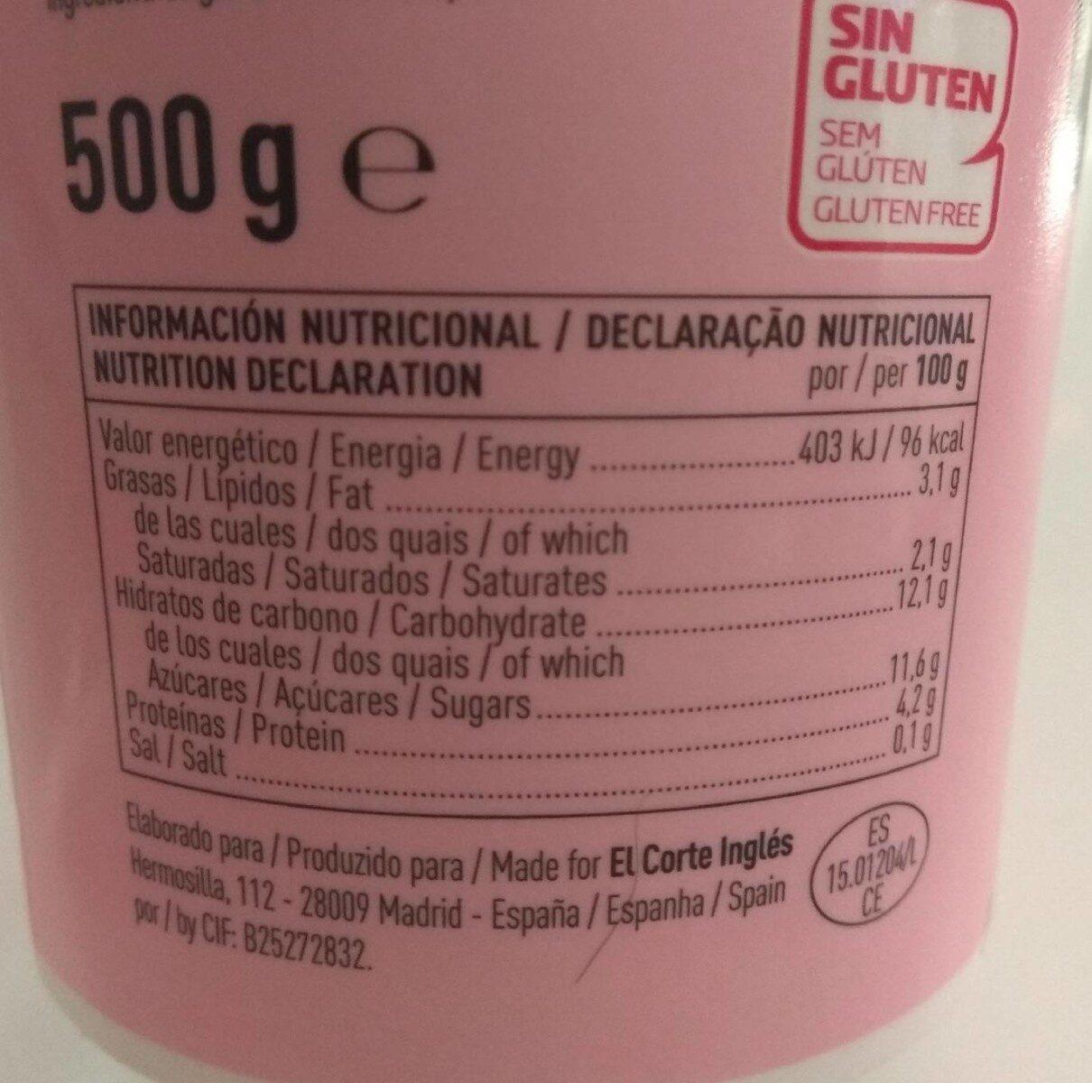 Yogur con fresas - Informació nutricional - es