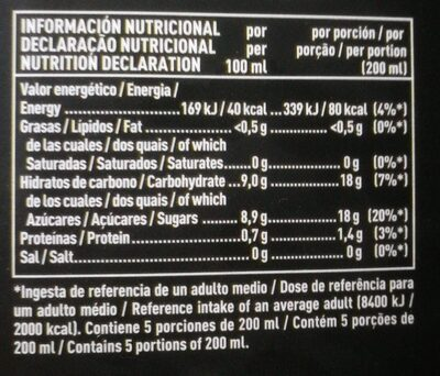 Naranja Valencia late - Informations nutritionnelles