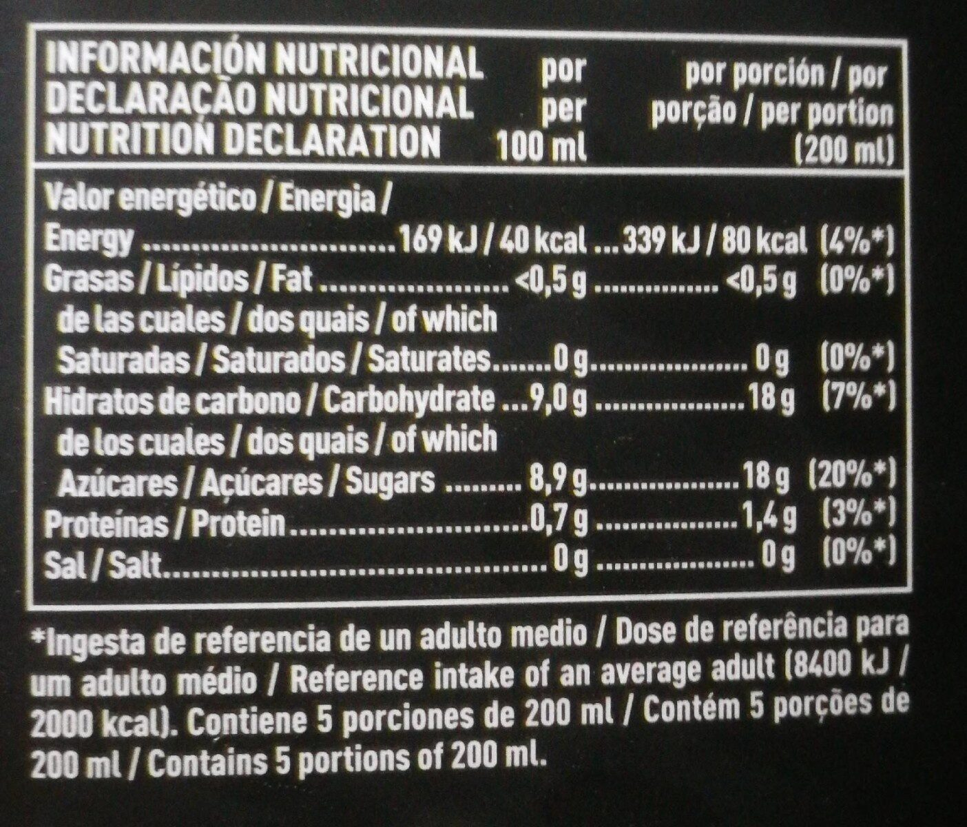 Naranja Valencia late - Informations nutritionnelles - es