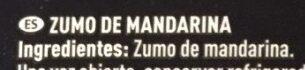 Zumo Mandarina - Ingrediënten - es
