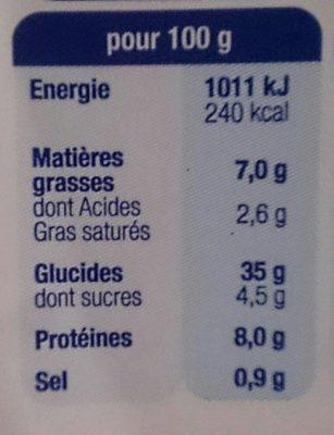 Demi-lune tomate basilic mozzarella - Informations nutritionnelles