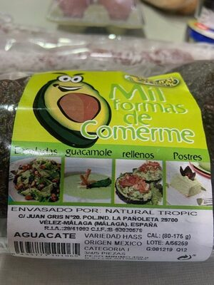Aguacate - Nutrition facts