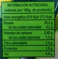 Guacamole ecológico - Nutrition facts