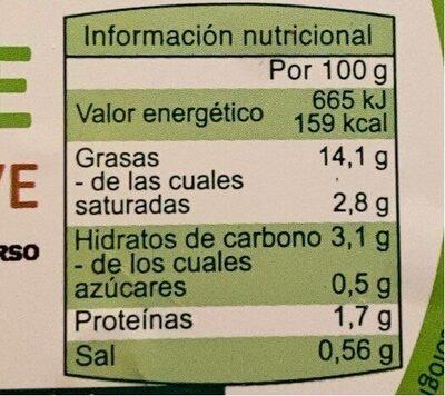 Guacamole ecológico suave - Información nutricional - es