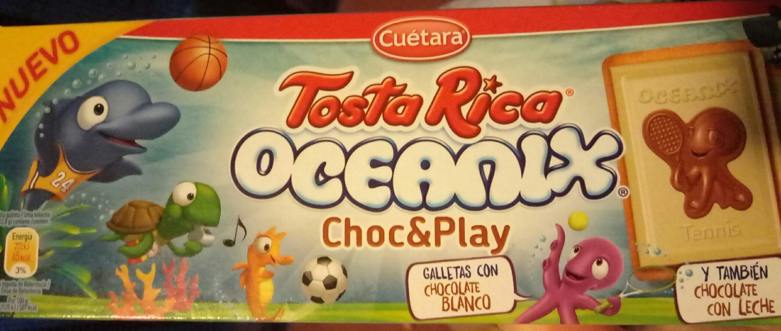 Tosta Rica Oceanix Choc & Play galletas con chocolate blanco y con leche - Product - es
