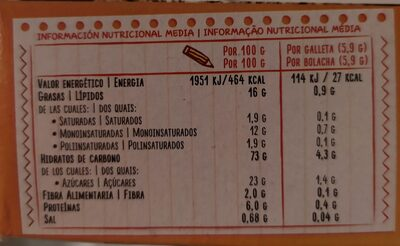 Galletas Tosta Rica - Voedigswaarden