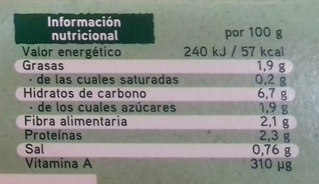 Super Veggie con calabacín, bulgur y garbanzos - Informations nutritionnelles