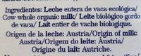 Leche entera de los Alpes bio - Ingredientes