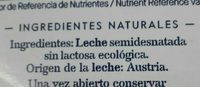 Leite UHT semidesnatada sin lactosa Bio - Ingredientes