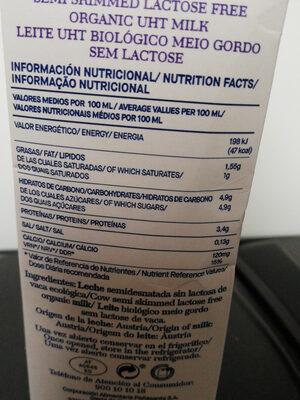 Leite UHT semidesnatada sin lactosa Bio - Información nutricional