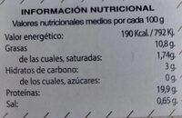Mejillones Fritos - Informació nutricional - es