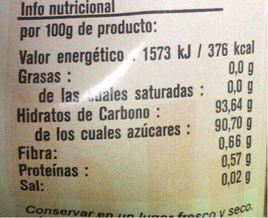 Azucar de caña - Voedingswaarden - es