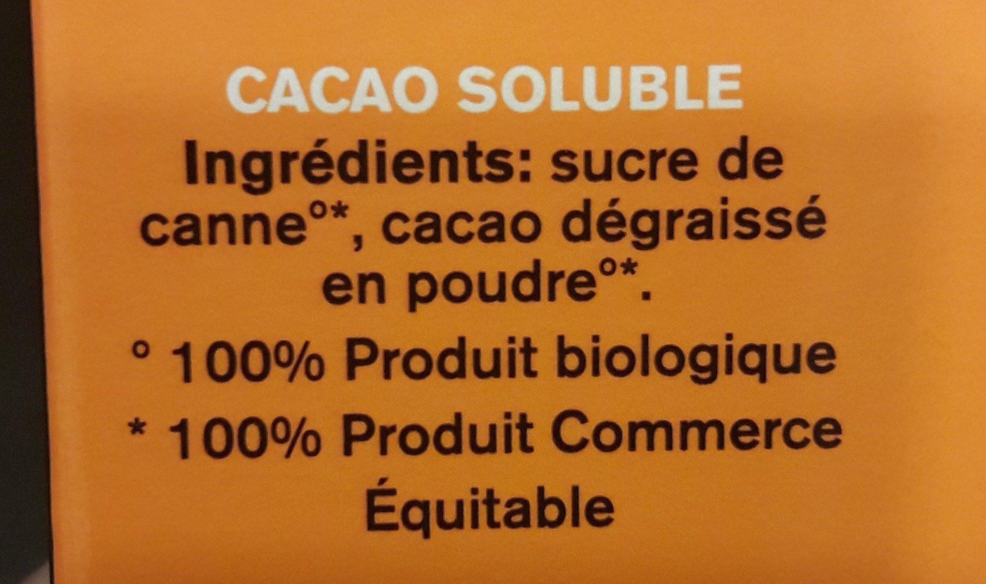 Cacao instantáneo ecológico sin lactosa y sin gluten - Ingredients - fr